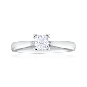 Flawless Cut 18ct White Gold Solitaire Ring With 0.5 Carat 4 Claw Set Diamond