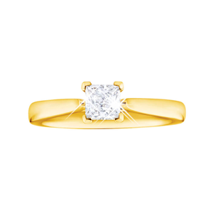 Flawless Cut 18ct Yellow Gold Solitaire Princess Cut Ring With 0.5 Carat Diamond