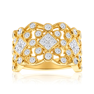 Flawless Cut 9ct Yellow Gold Diamond Ring (TW=1ct)