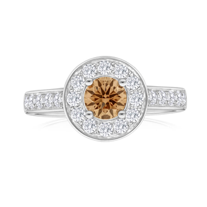 Flawless Cut 18ct White Gold Ring With 1 Carat Of Diamonds And Cognac Centre Diamond