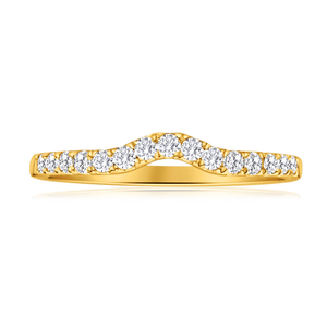 Flawless Cut 18ct Yellow Gold Diamond Ring With 15 Diamonds (TW-25-29PT)