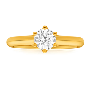 Flawless Cut 18ct Yellow Gold Solitaire Ring With 0.75 Carat Diamond