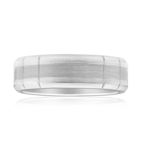Flawless Cut 9ct White Gold & Titanium Inlay Ring