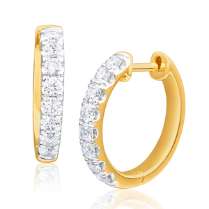 Flawless Cut 9ct Yellow Gold Diamond Hoop Earrings (TW=50-54pt)