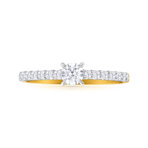 Flawless Cut 18ct Yellow Gold & White Gold Ring With 0.5 Carats Of Diamonds