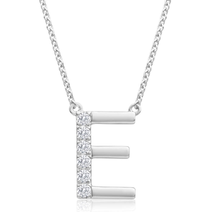 Flawless Cut 9ct White Gold Diamond E Pendant With 45cm Chain