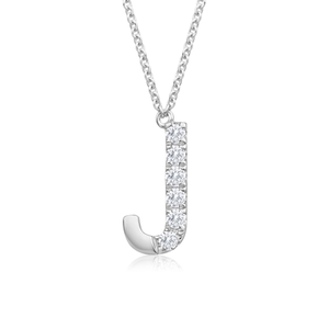 Flawless Cut 9ct White Gold Diamond j Pendant With 45cm Chain