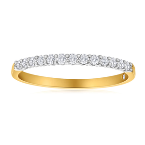 Flawless Cut 18ct Yellow Gold & White Gold Diamond Ring With 13 Diamonds (TW=20-24PT)