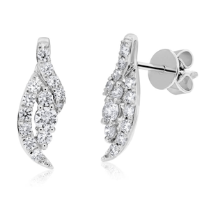 Flawless Cut 9ct White Gold Diamond Stud Earrings (TW=50-54pt) Anastasia