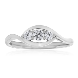 Flawless Cut 9ct White Gold Trilogy Diamond Ring (TW=20pt)