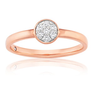 Flawless Cut 9ct Rose Gold Round Stackable Diamond Ring (TW=10-14pt)
