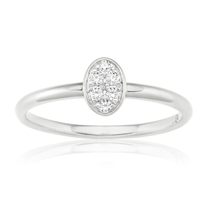 Flawless Cut 9ct White Gold Oval Stackable Diamond Ring (TW=10-14pt)