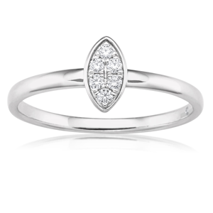Flawless Cut 9ct White Gold Marquise Stackable Diamond Ring (TW=10pt)