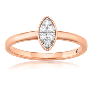 Flawless Cut 9ct Rose Gold Marquise Stackable Diamond Ring (TW=10pt)