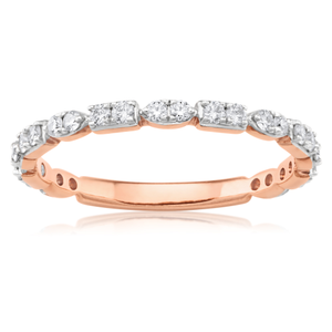 Flawless Cut 9ct Rose Gold Stackable Diamond Ring (TW=40pt)