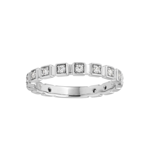 Flawless Cut 9ct White Gold Square Stackable Diamond Ring (TW=20pt)
