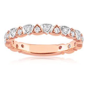 Flawless Cut 9ct Rose Gold Diamond Trilliant Stackable Ring (TW=30pt)