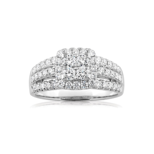 Flawless Cut 9ct White Gold Diamond Ring (TW=1CT)