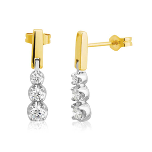 Flawless Cut 9ct Yellow Gold & White Gold ½ Carat Diamond Drop Earrings