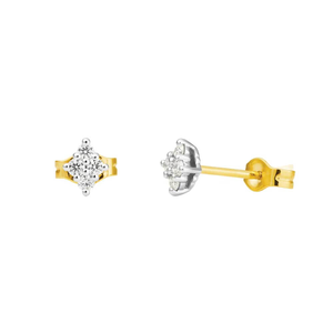 Flawless Cut 9ct Yellow Gold & White Gold Diamond Stud Earrings