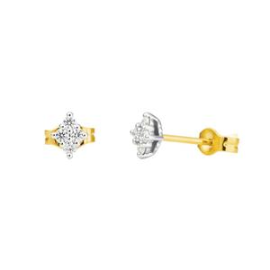Flawless Cut 9ct Yellow Gold & White Gold Diamond Stud Earrings