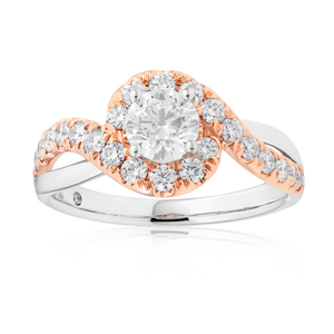 18ct White & Rose Gold 1.00 Carat Flawless Diamond Ring