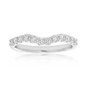 Flawless Cut 18ct White Gold Diamond Curve Ring (TW=50pt)