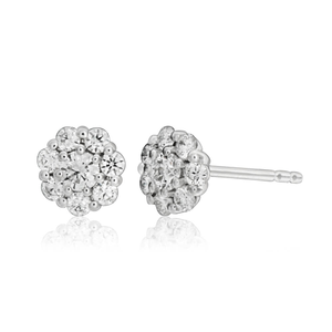 Flawless Cut 9ct White Gold Claw Diamond Stud Earrings (TW35-39pt)