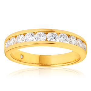 Flawless Cut 18ct Yellow Gold Diamond Ring With 10 Diamonds (TW=75pt)