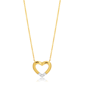 Flawless Cut 9ct Yellow Gold Pendant With 4 Points Of Diamonds - Chain Included