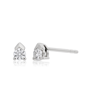 Flawless Cut 0.10 carat 9ct White Gold Diamond Stud Earrings