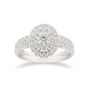 Flawless 1 Carat TW of Diamonds Bridal Set in 18ct White Gold
