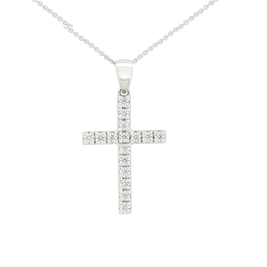 Flawless 9ct White Gold Cross Pendant (TW=1/4 carat)