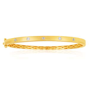 Flawless 9ct Yellow gold 60mm Oval Diamond Bangle (TW=1/4 carat)