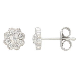 Flawless 9ct White Gold Studs Earrings (TW=1/4 Carat)