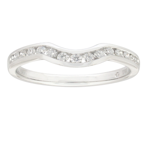 Flawless 18ct White GOld Eternity Curve Diamond Ring (TW=1/4 Carat)