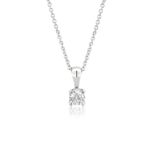 Falwless 9ct White Gold Solitaire Pendant on a 45cm chain (10 Points)
