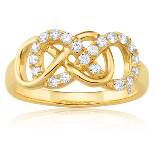 Flalwess Cut 9ct Yellow Gold 1/3 Carat Infinity