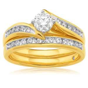 Flawless Cut Bridal Set 18ct Yellow Gold with 3/4 carat of Diamonds