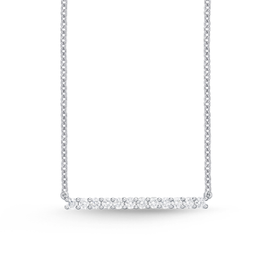 25-29Pt Horizontal Bar 18ct white gold Necklace with 18 inch chain