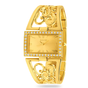 ECC Fancy Stone Set Gold Plated Womens Watch