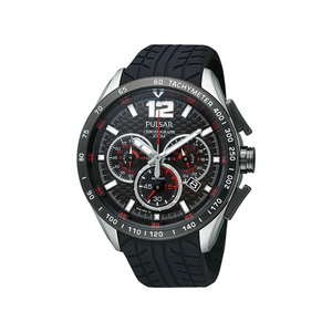 Pulsar PU2021X Silver & Black Mens Watch