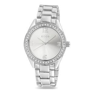 ECC Stone Set Silver Tone Classic Womens Watch