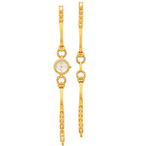 ECC Yellow Gold Plated Circle Womens Watch and Bracelet Set