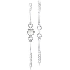 ECC Silver Plated Womens Watch and Bracelet Set