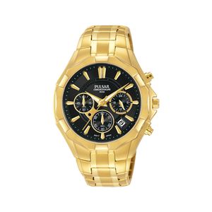 Pulsar PT3856X Chronograph Gold Tone Mens Watch