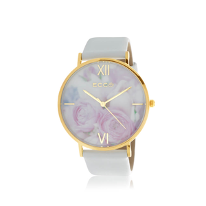 ECC Floral Gold Tone Bloom Floral Pink/White 41mm Womens Watch