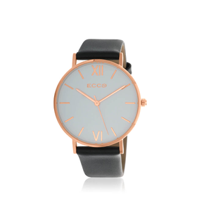 Ellis & Co Collection Rose Gold Tone Black Strap Unisesx Watch