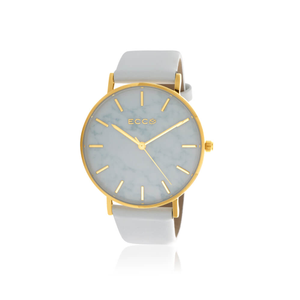 ECC Gold Tone Marble White Strap 36mm Womens Watch