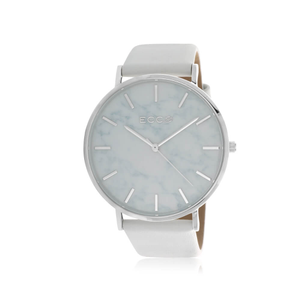 ECC Silver Tone White Strap 41mm Womens Watch